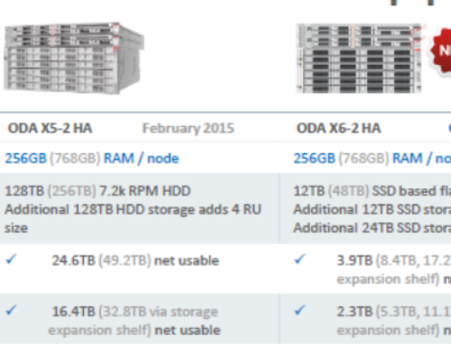 Net usable  storage when using Oracle Database Appliance