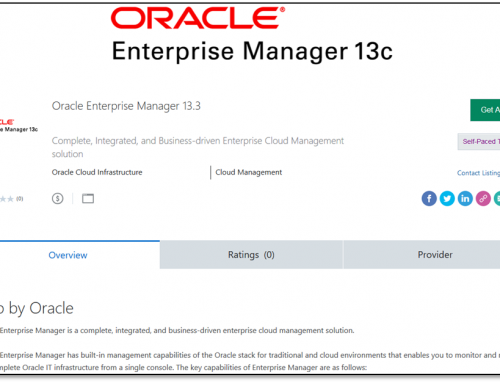 Impressions of the OEM13c app from Oracle Cloud marketplace